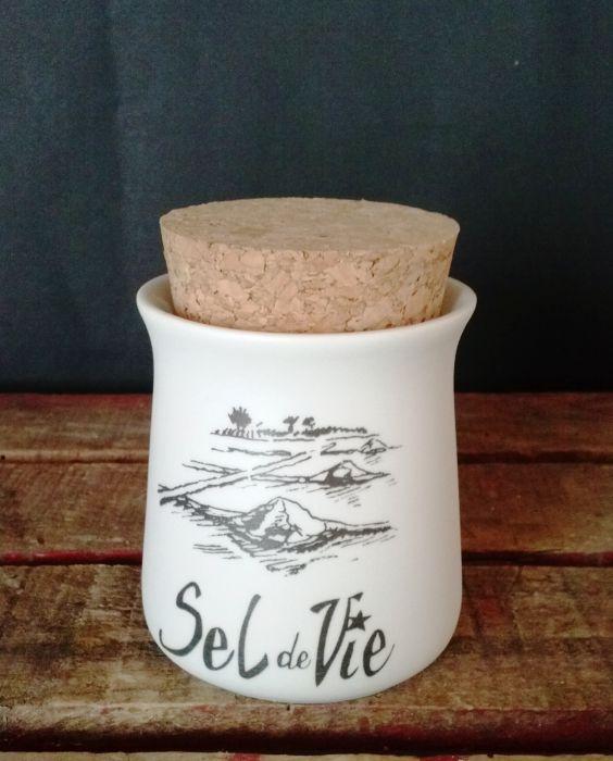 Pot à Fleur de sel blanc mat bouchon liège